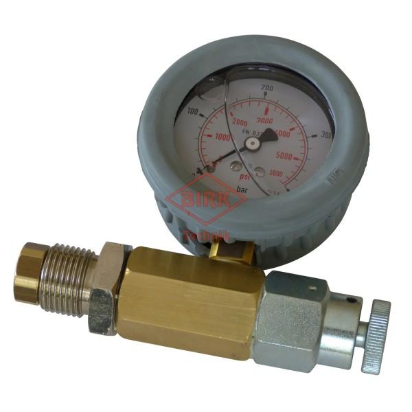 Prüfmanometer Pressluft 300 bar, mit Entlastungsschraube
