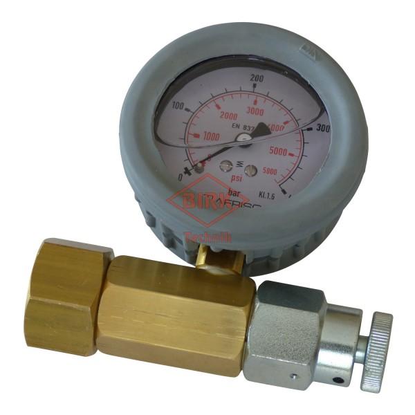 Prüfmanometer Stickstoff 300 bar, W 30x2, mit Entlastungsschraube