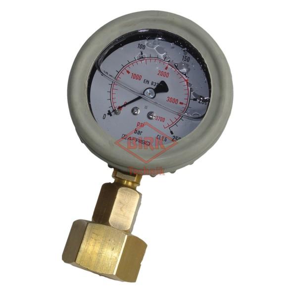 Prüfmanometer Stickstoff 200 bar Flaschen, Anzeige 250 bar, mit Prüfzertifikat.